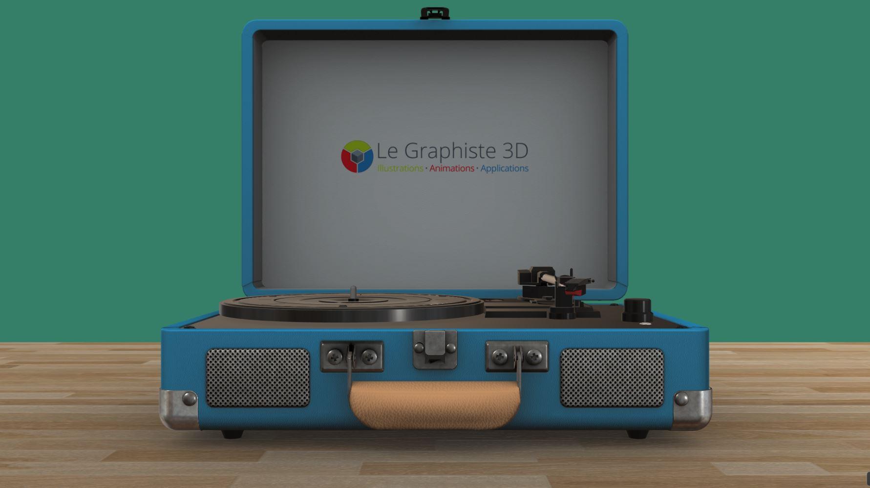 Application 3D temps réel - tourne-disque bleu sur fond vert - Le Graphiste 3D