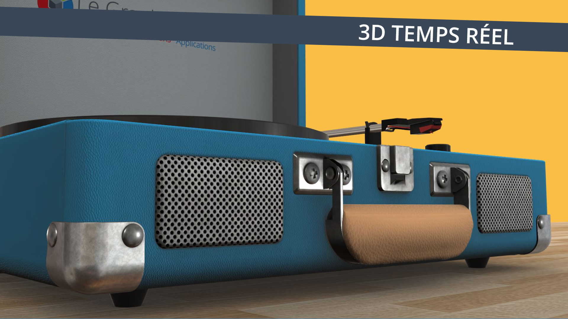 Application 3D temps réel - Gros plan tourne-disque bleu sur fond jaune - Le Graphiste 3D