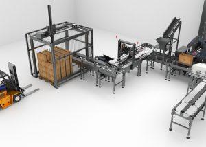 Animation 3D - Chaîne de montage automatisée industrielle trois quart - Le Graphiste 3D