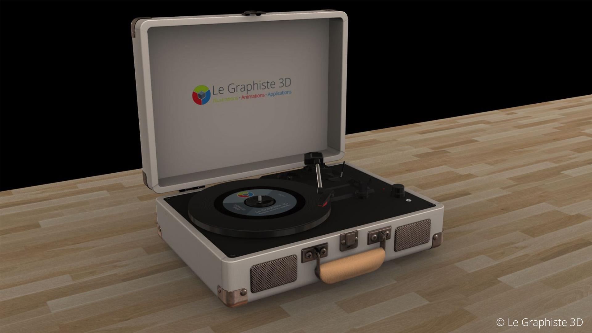 Application 3D temps réel - Tourne-disque beige sur fond noir - Le Graphiste 3D