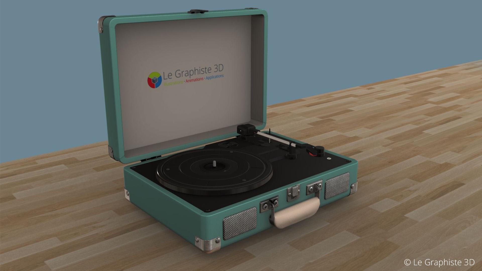 Application 3D temps réel - Tourne-disque vert - Le Graphiste 3D
