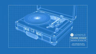 Application 3D - blueprint tourne-disque - legraphiste3d