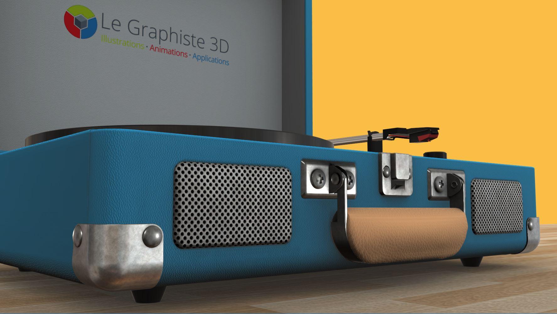 Application 3D temps réel - tourne-disque bleu sur fond jaune - Le Graphiste 3D