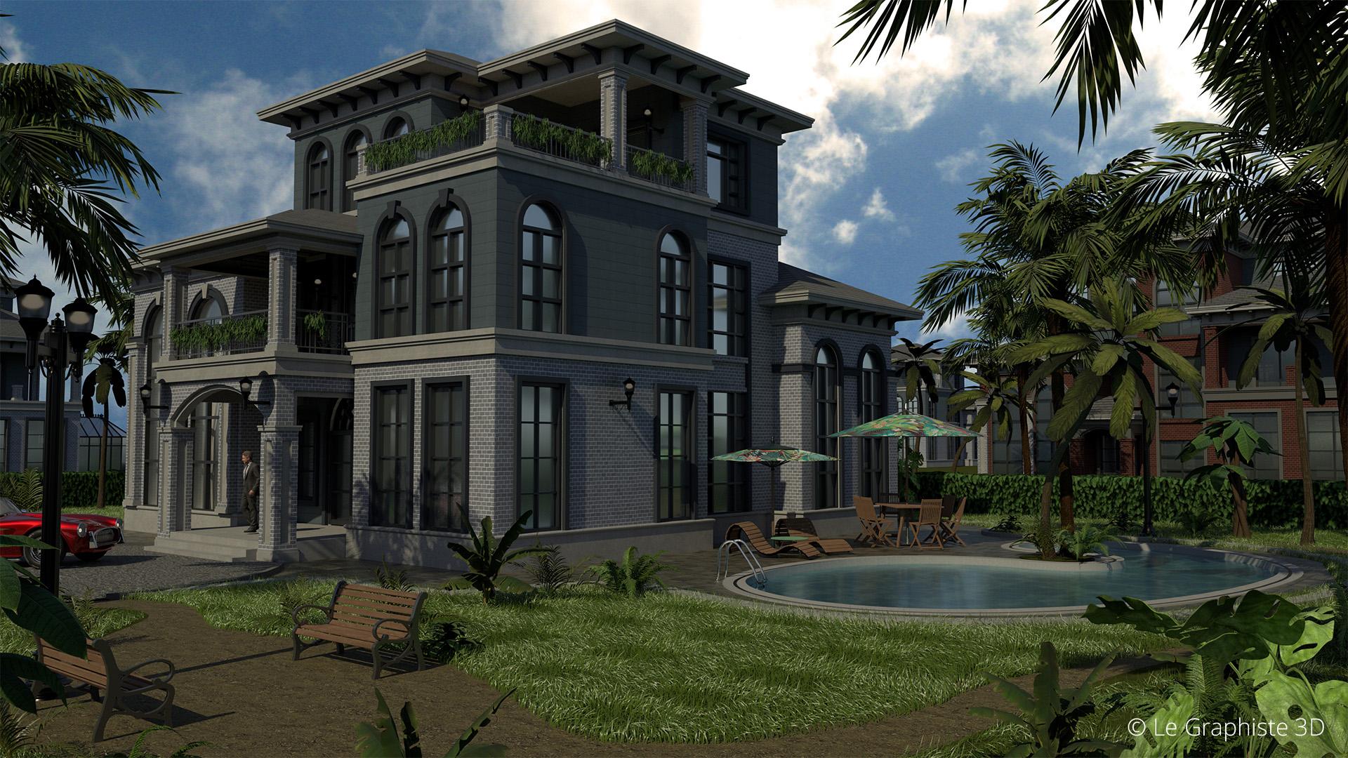 Illustration 3D - vue extérieure jour piscine - Architecture - Le Graphiste 3D