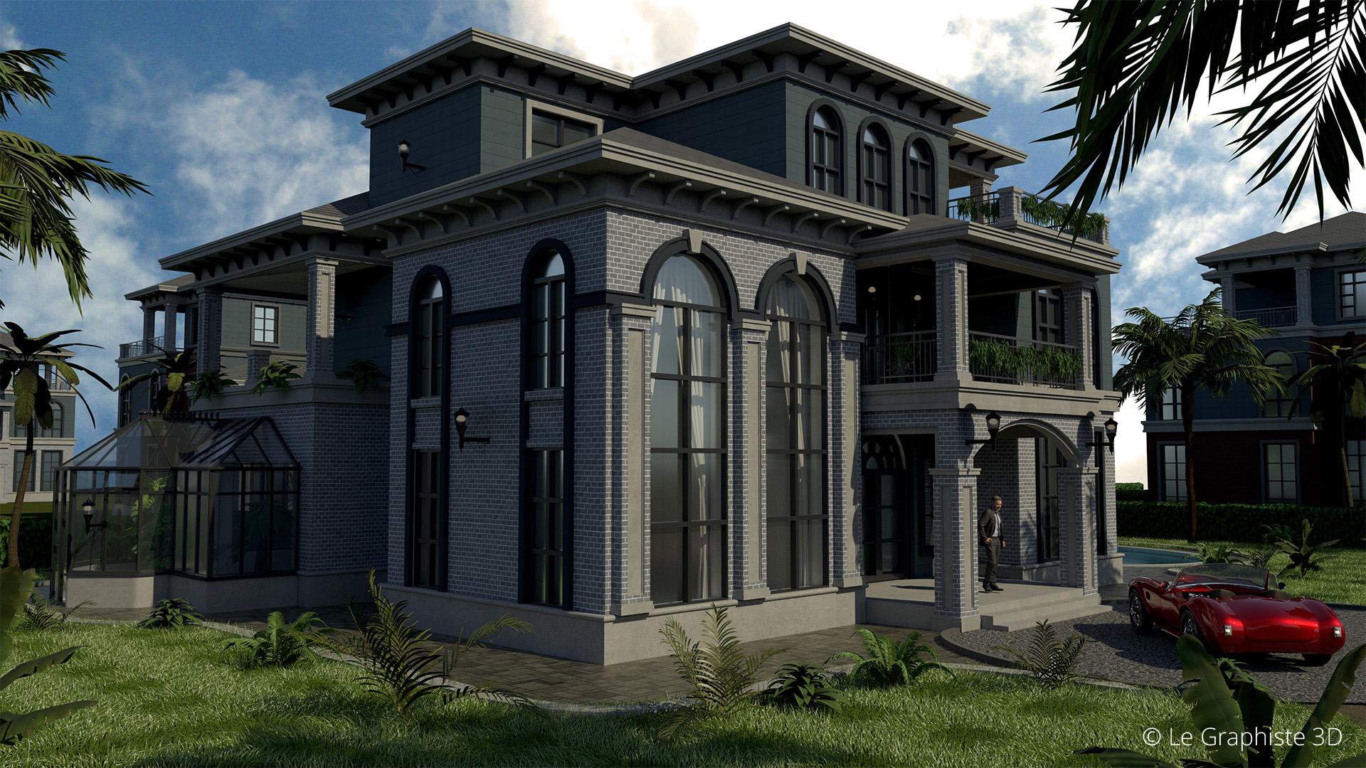 Illustration 3D - vue extérieure jour - Architecture - Le Graphiste 3D