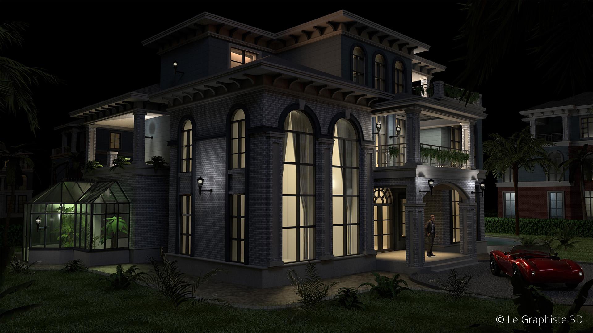 Illustration 3D - vue extérieure - architecture - Le Graphiste 3D