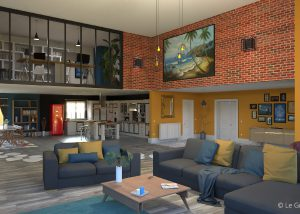 Illustration 3D - loft - salon - Le Graphiste 3D