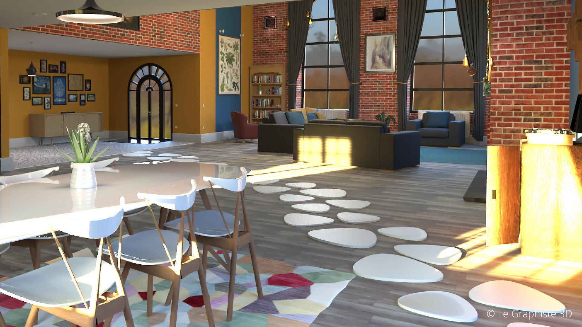Illustration 3D - vue intérieur - ensoleille - Le Graphiste 3D