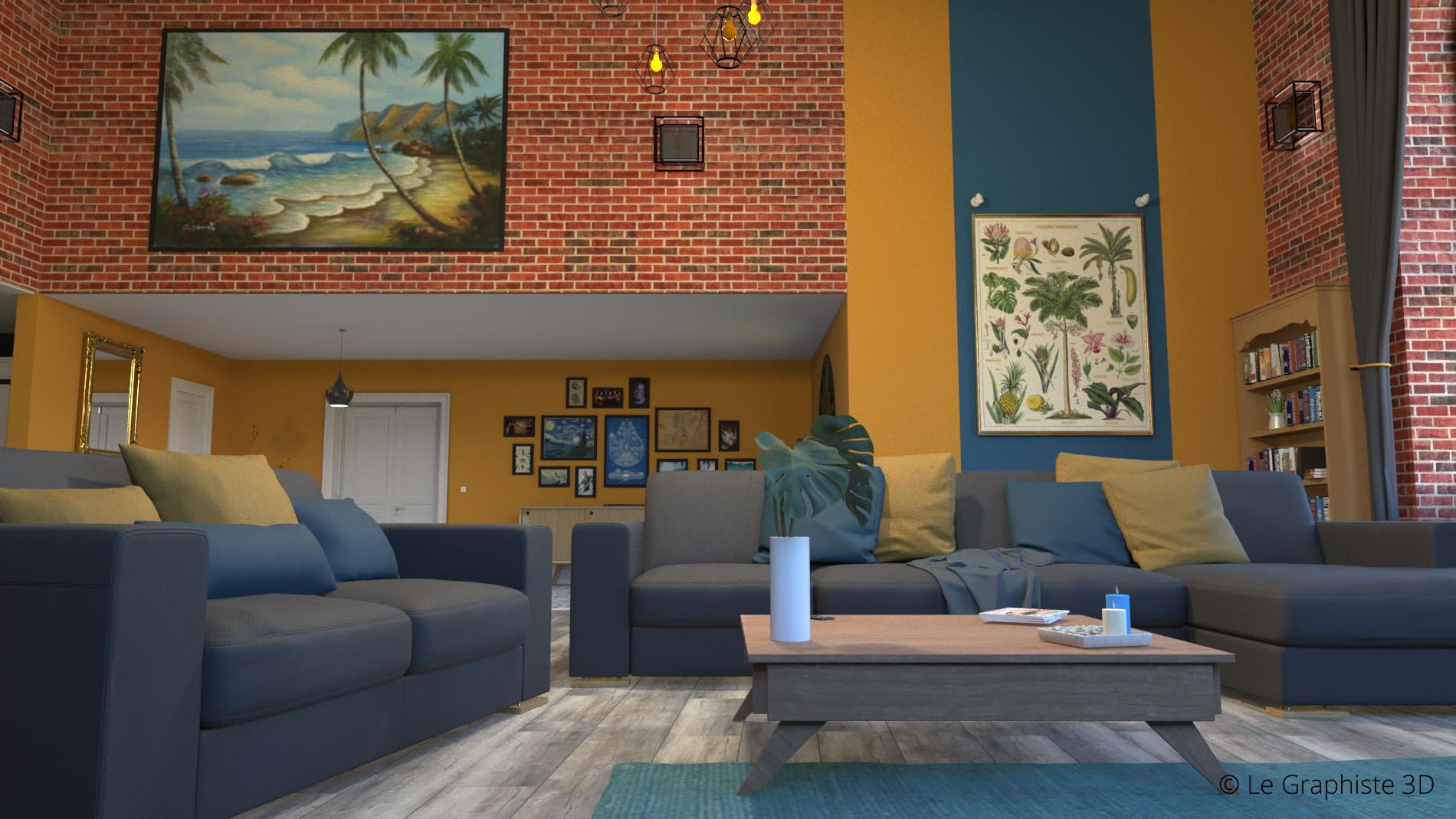 Réalisation d'une image fixe en 3D d'un loft moderne