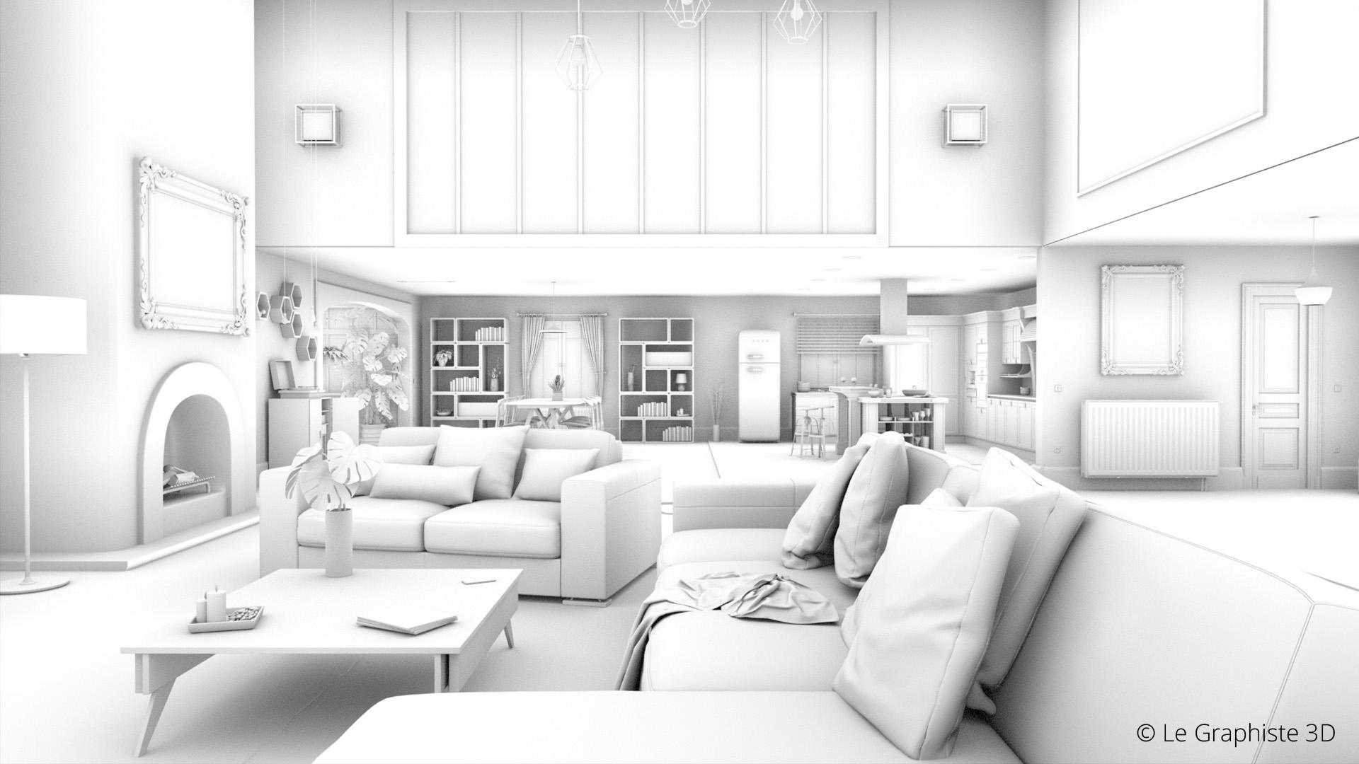 illustration 3d - villa esprit loft - Le Graphiste 3D