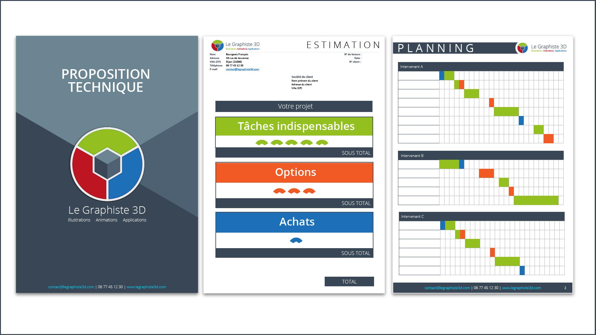 Tarifs - Cahier des charges technique - Estimation - Planning - Le Graphiste 3D