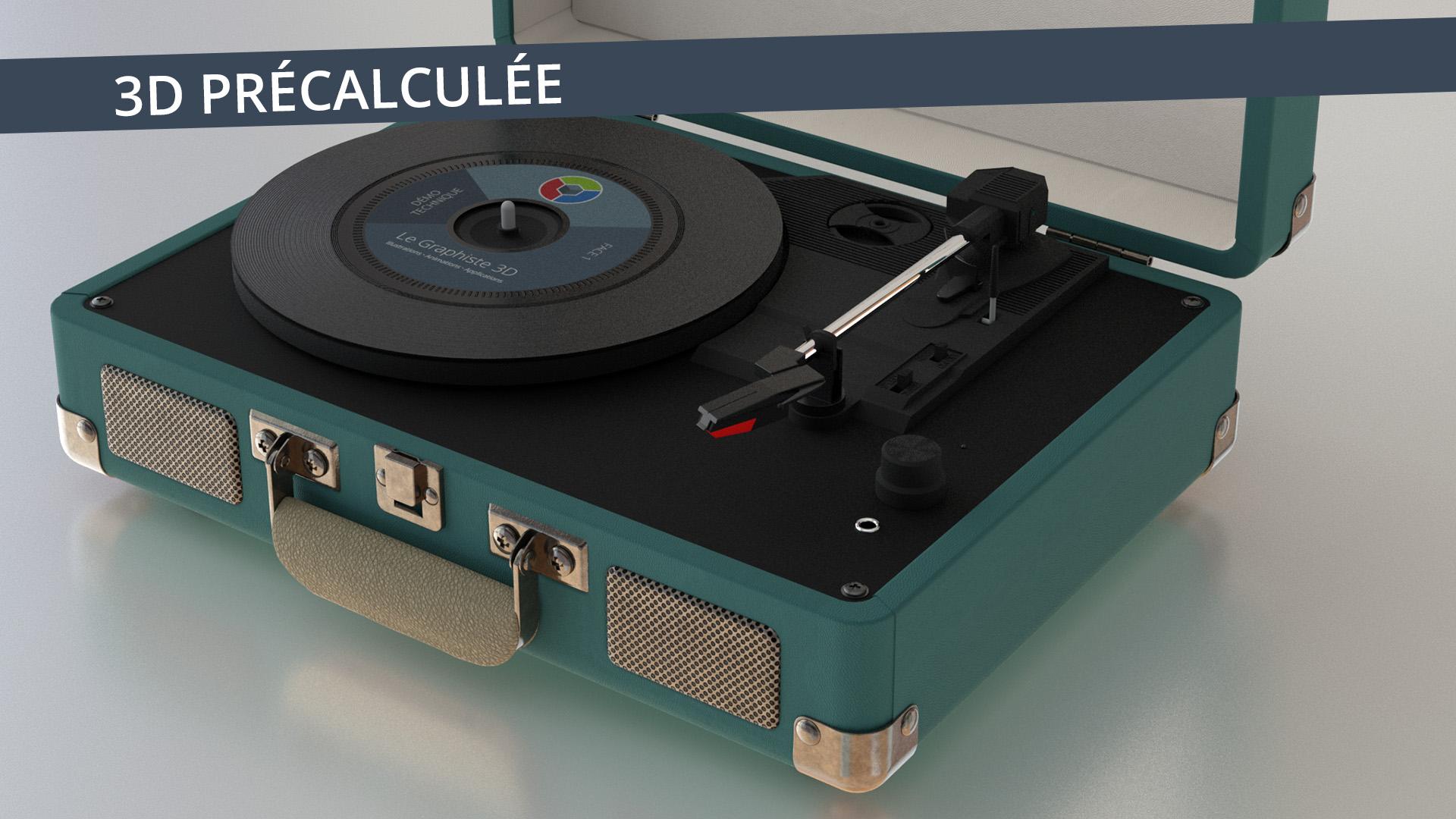3D précalculée - Tourne-disque - Le Graphiste 3D