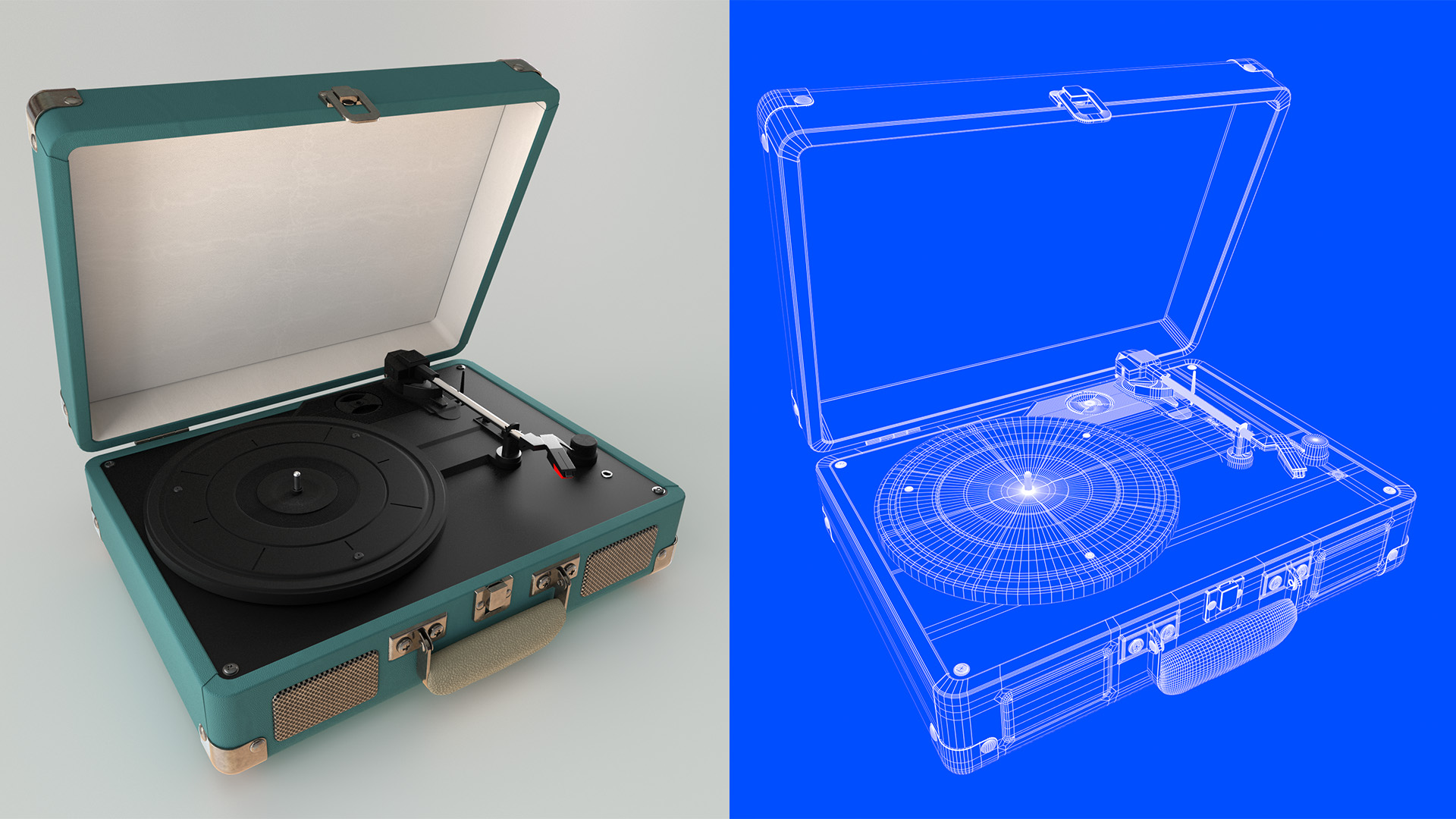 Tourne-disque - wireframe - Le Graphiste 3D