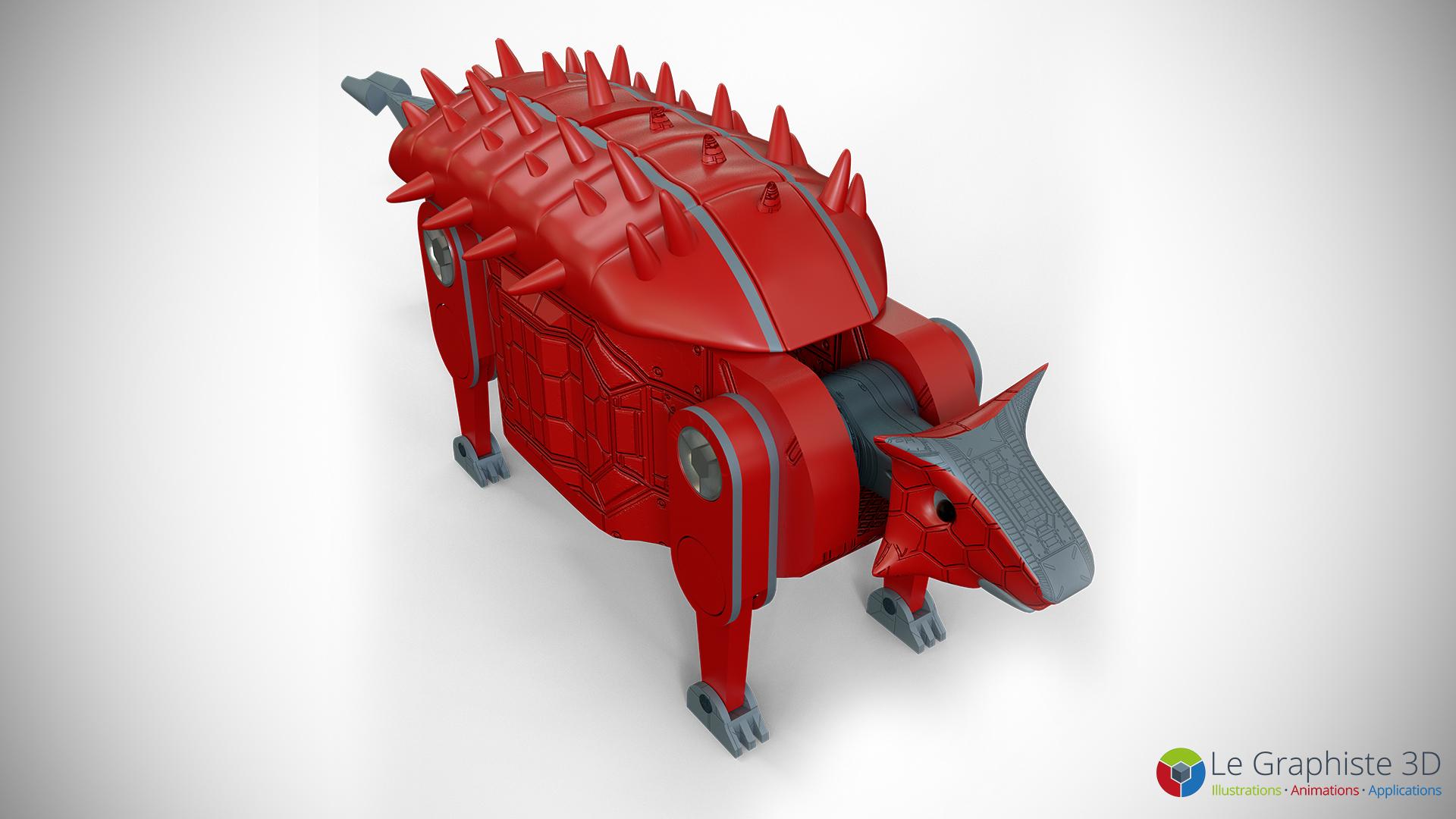 Le Graphiste 3D - Ankylosaure - Jambe droite du robot Mégasaure