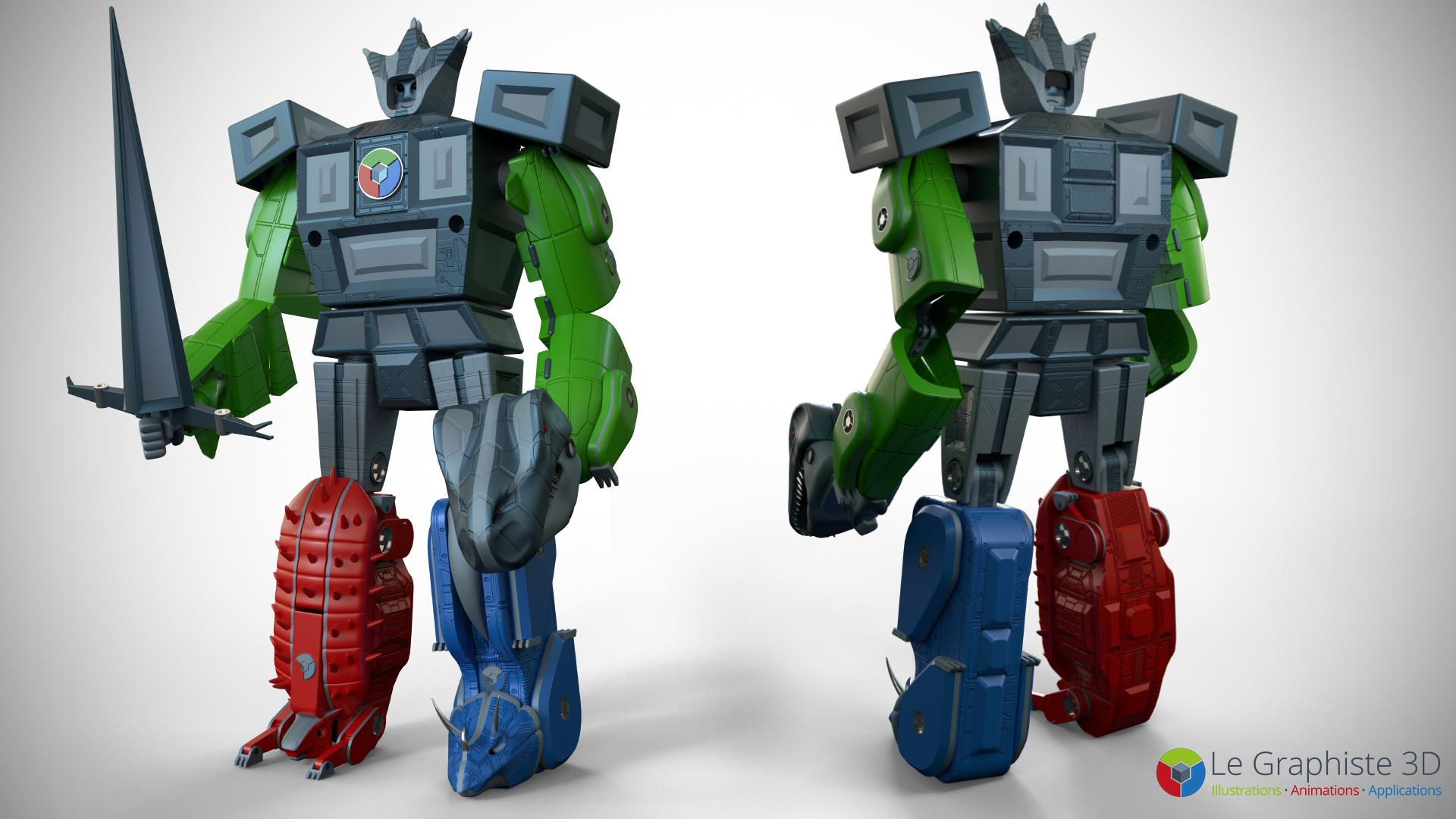 Le Graphiste 3D - Vu de face et de dos - Robot Mégasaure