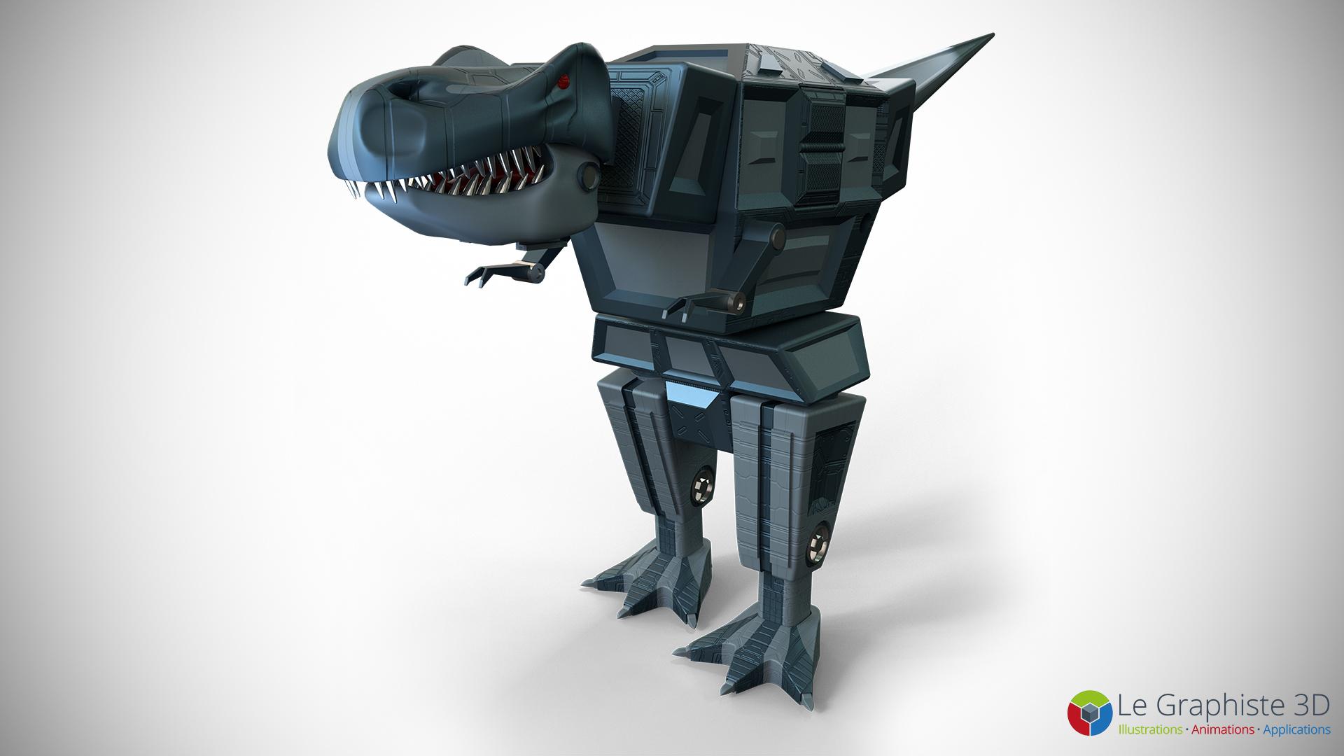 Le Graphiste 3D - Tyrannosaure : Tête, buste et armes du robot Mégasaure