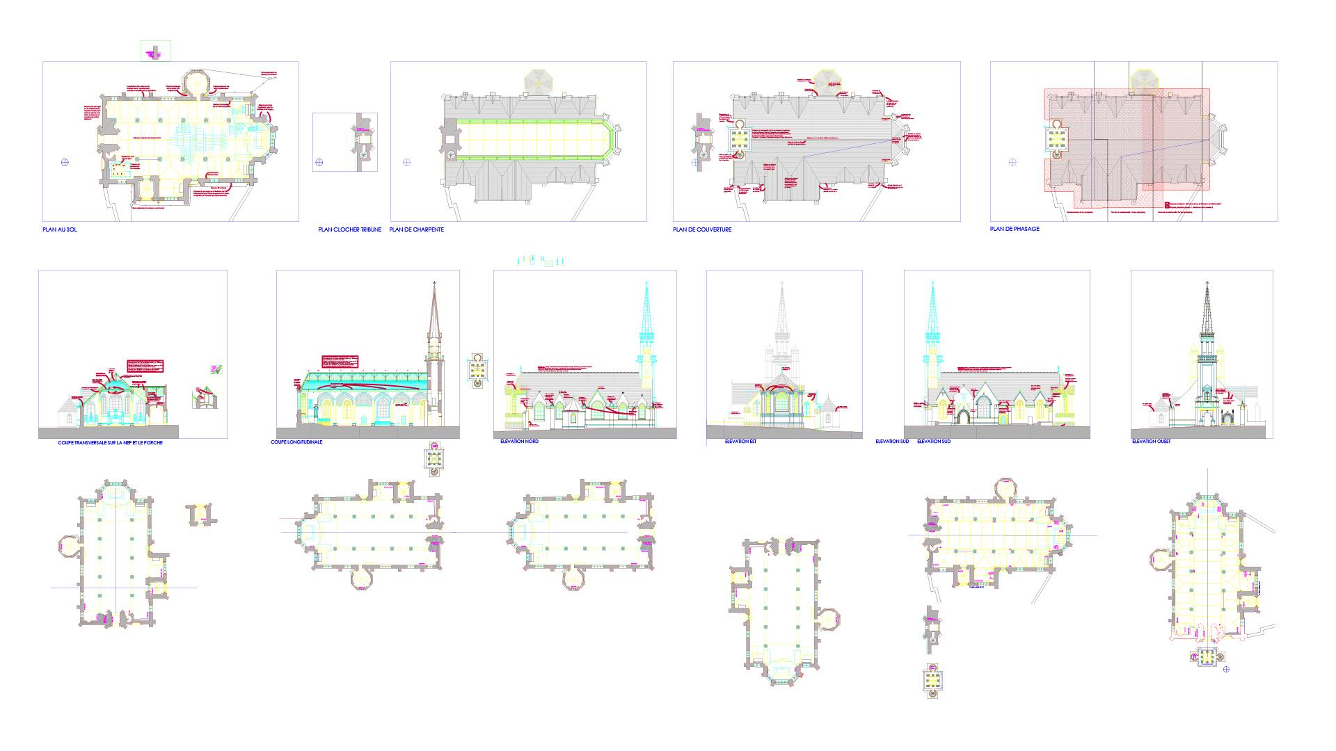 Le Graphiste 3D - Modélisation 3D - Plan 2D de l'église Saint-Maudet, Le Juch, Bretagne