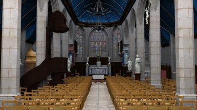 Le Graphiste 3D - Modélisation 3D - Eglise Saint-Maudet, Commune du Juch, Bretagne