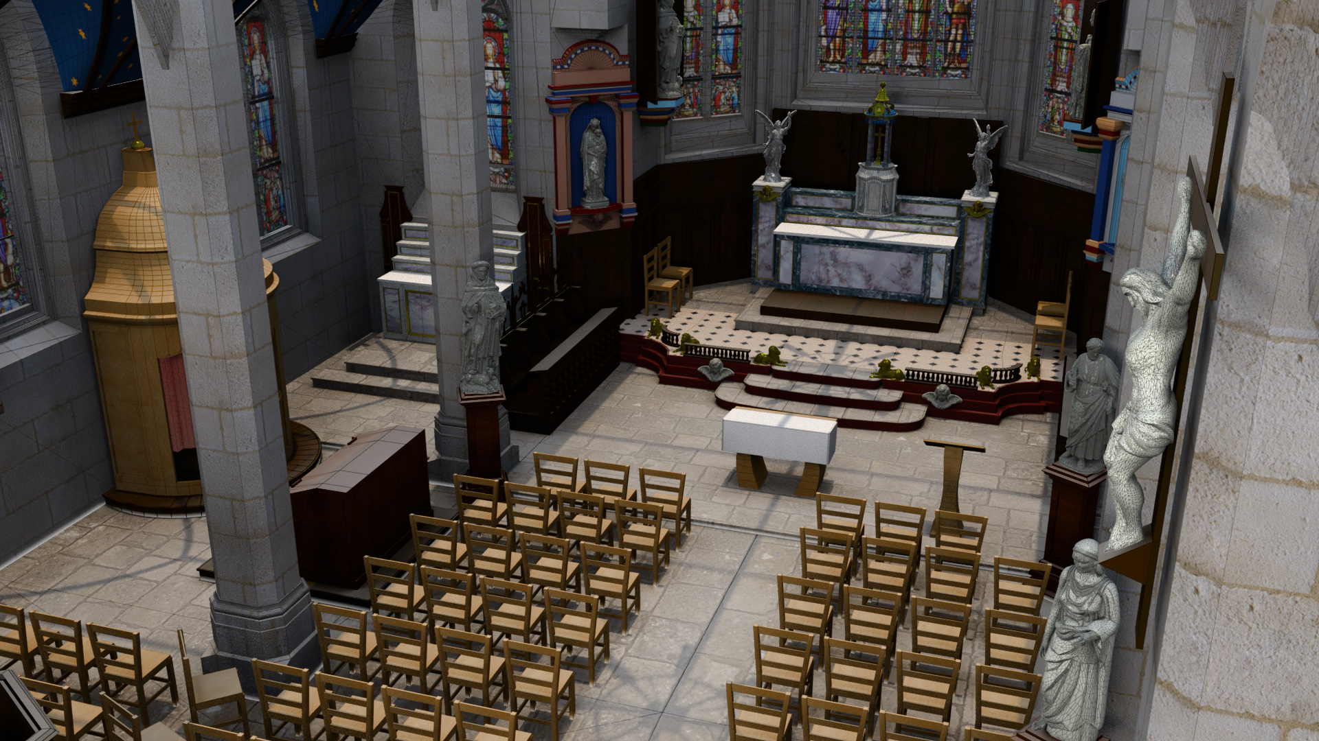 Le Graphiste 3D - Modélisation 3D - Vue de l'église Saint-Maudet, Commune du Juch, Bretagne