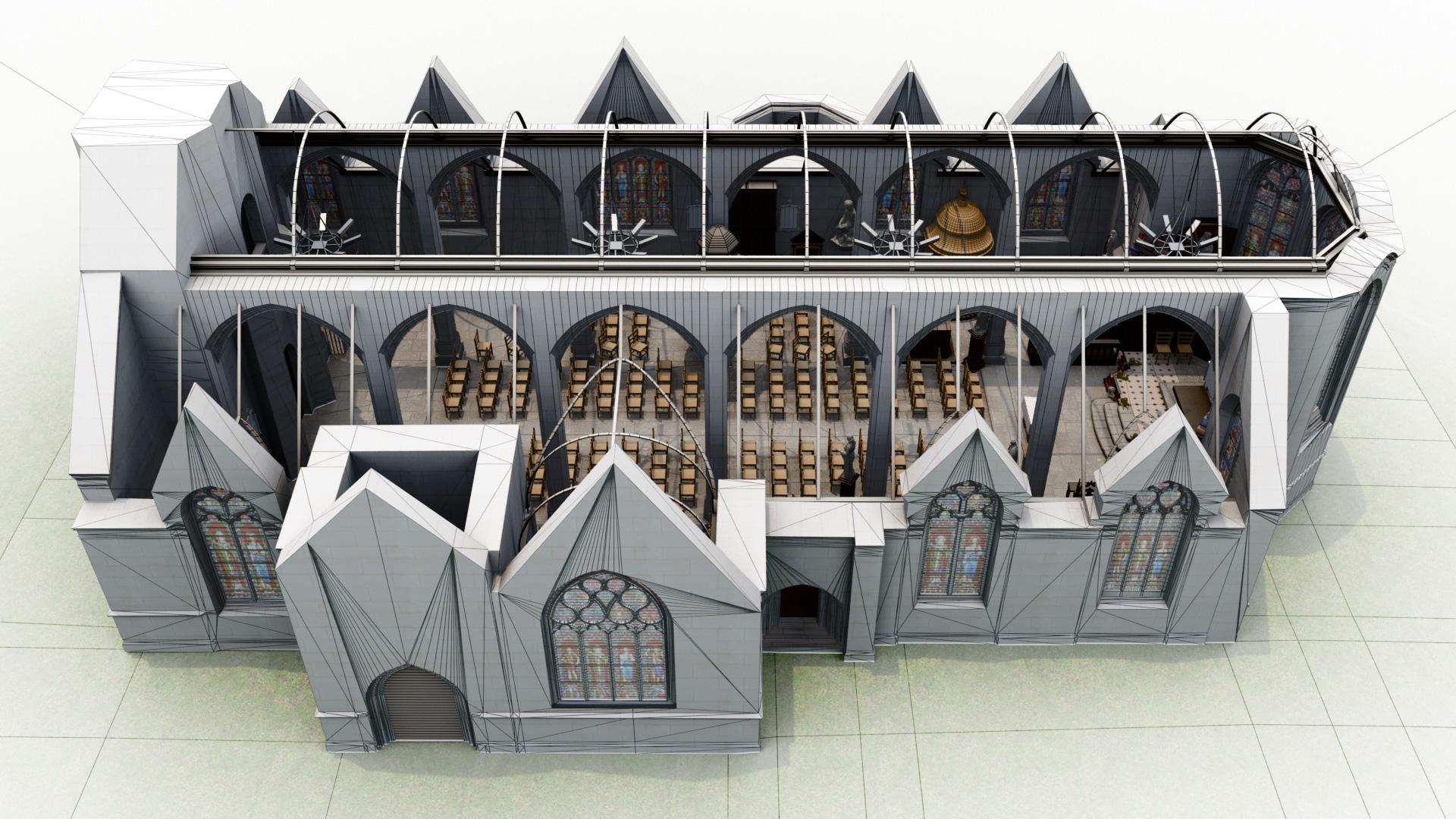 LG3D - Modélisation 3D - Vue 3D de l'église Saint-Maudet, Commune du Juch, Bretagne