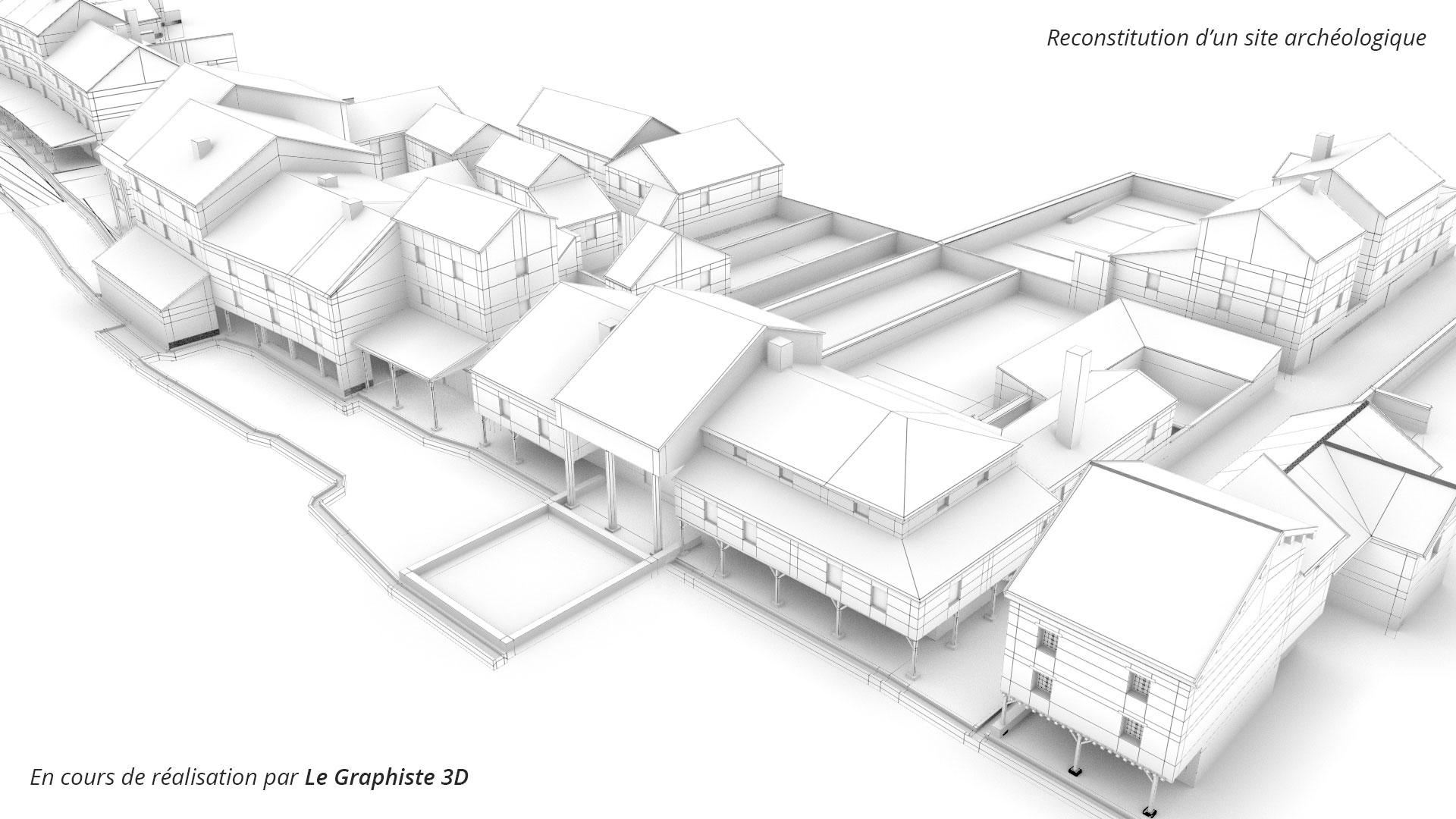 Reconstitution d'un site archéologique en cours de réalisation par Le Graphiste 3D