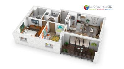 Appartement conçu et réalisé en 3D pour illustrer le fonctionnement d'une centrale de traitement de l'air
