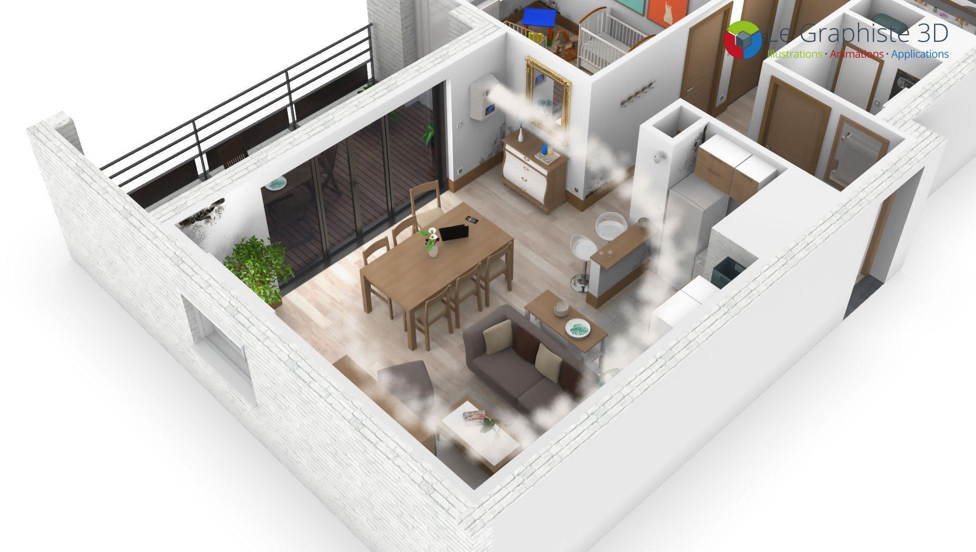 Représentation des flux d'air d'une centrale de traitement d'air dans un salon