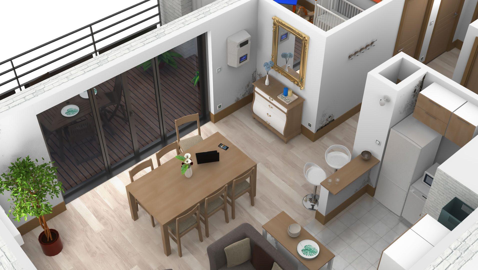 Appartement en 3D pour présenter et valoriser le fonctionnement d'une centrale de traitement d'air