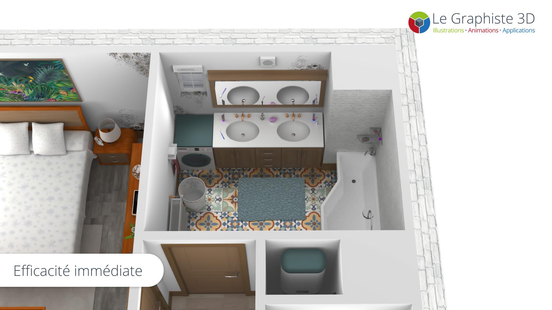 Salle de bain de l'appartement réalisé en 3D