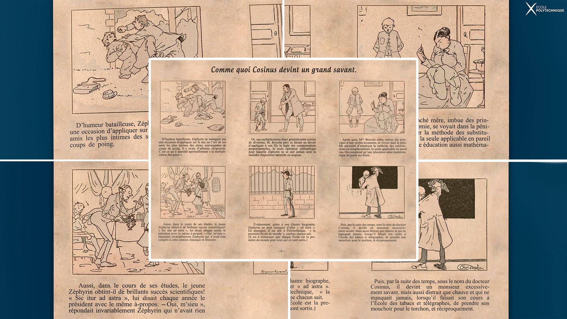 MusX Ecole Polytechnique - Exposition temporaire 2020 2021 - illustrations de la bande dessinée animée Cosinus
